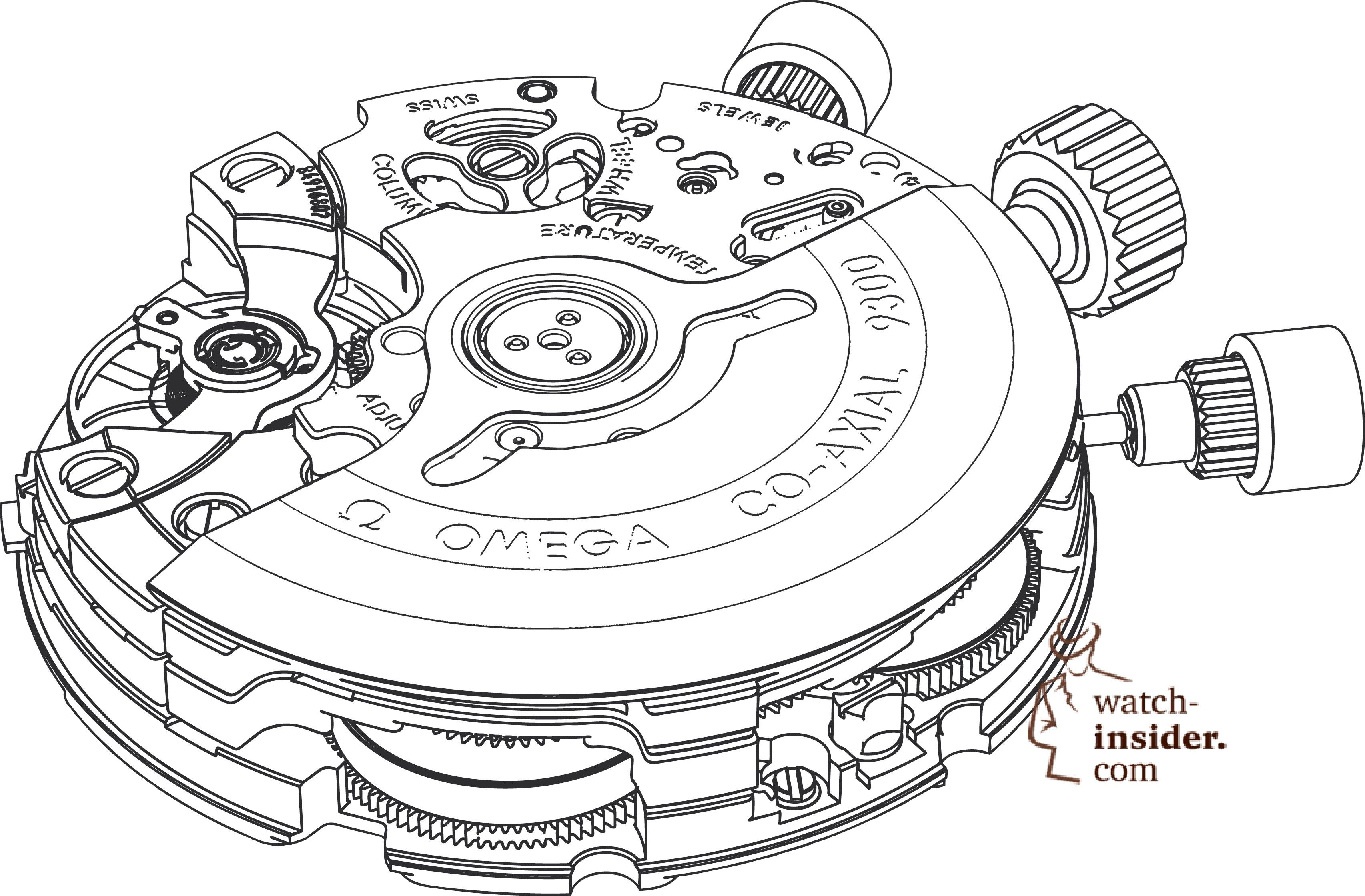 Omega Calibre Drawing With The Chronograph Mechanism