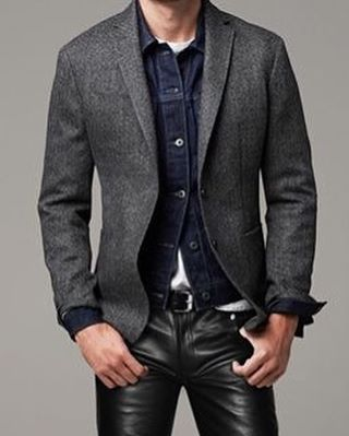 Tweed and denim AND leather pants. How superb is this? #OOTD #instalike #instafashion #instastyle #instaleather #mensstyle #mensfashion #mensfashionpost #leather #leatherpants #leathertrousers #blackleather #denim #denimjacket #tweed #leatherguy #leatherdude #gay