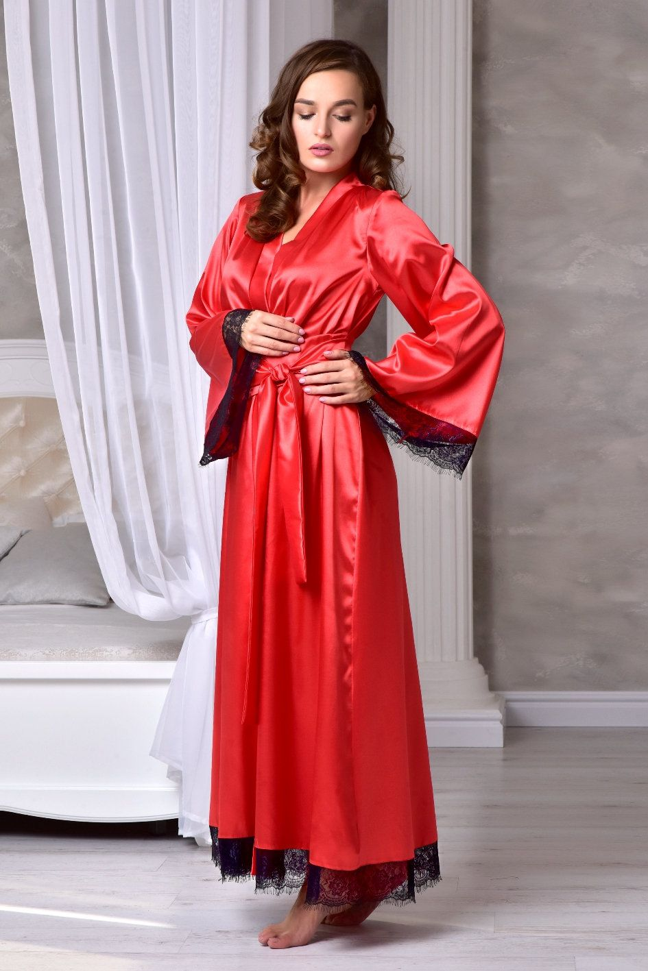 66b68d2ad5 Excited to share the latest addition to my  etsy shop  Red long bridal robe