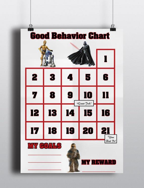 Star Wars Good Behavior Sticker Chart Incentive Darth Vader R2 D2 C 3po