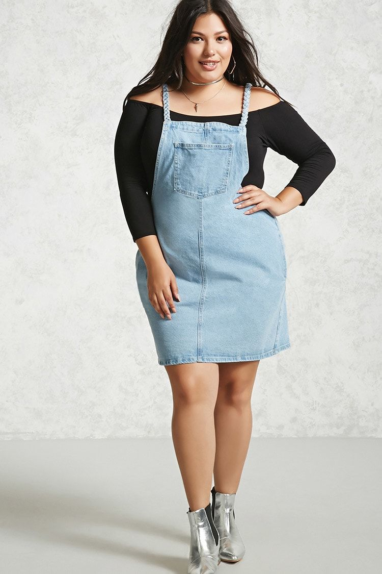 $27.90 Product Name:Plus Size Denim Overall Dress, Category ...