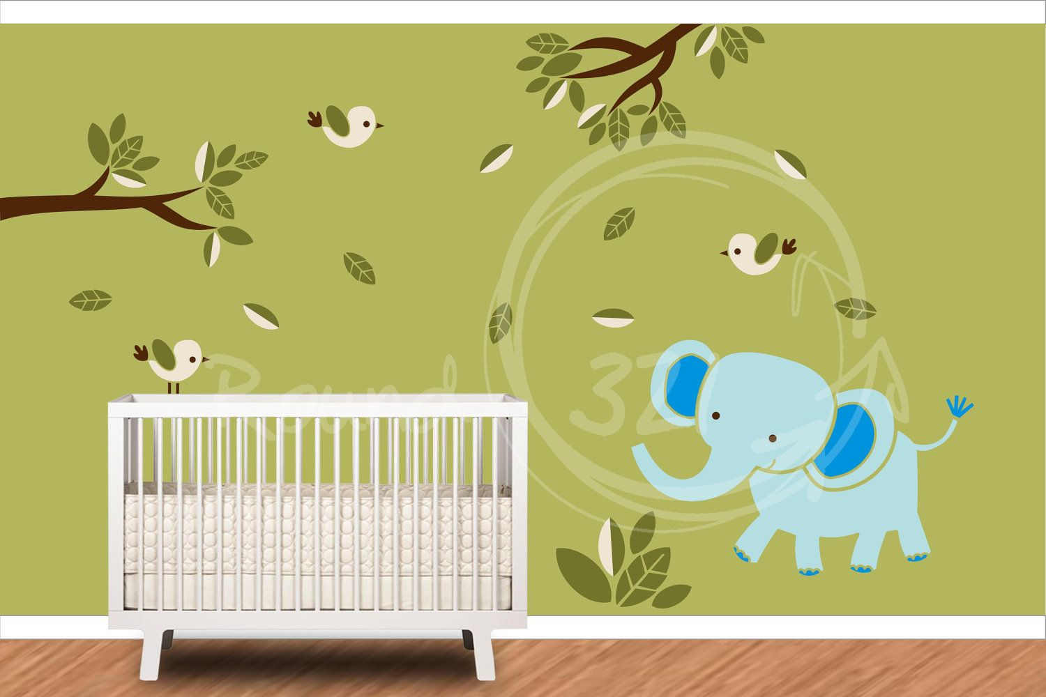 Elephant With Birds Wall Decal- Tree Branches & Leaves Jungle Theme ...