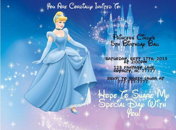 Princess Cinderella Birthday Invitation Or Thank You Card Personalized Custom Printable Digital Cinderella Movie Disney Princess Wallpaper Cinderella Wallpaper