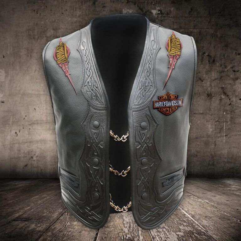 Leather Black Vest Harley Davidson - BraveBiker in 2020 ...