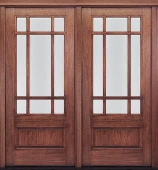 Craftsman 9 lite prairie style solid mahogany french for Solid french doors exterior
