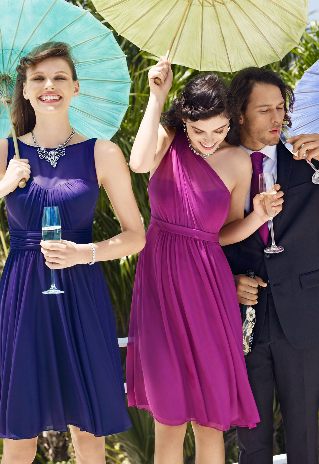 Mix and match fun hues in the same color family for your bridesmaids ...