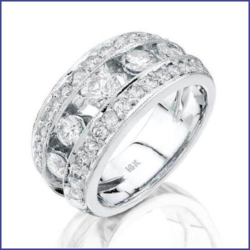 Gregorio 18K White Gold Diamond Wedding Band (1.58 cttw, G-H color, VS-SI clarity)  Price : $6,600.00 http://www.blountjewels.com/Gregorio-White-Diamond-Wedding-clarity/dp/B009FRO4HE