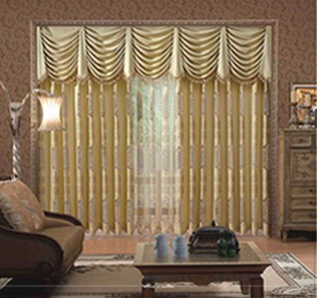 Two Tier Gold Curtains The First Layer Has Long Folds And The Second Layer Is