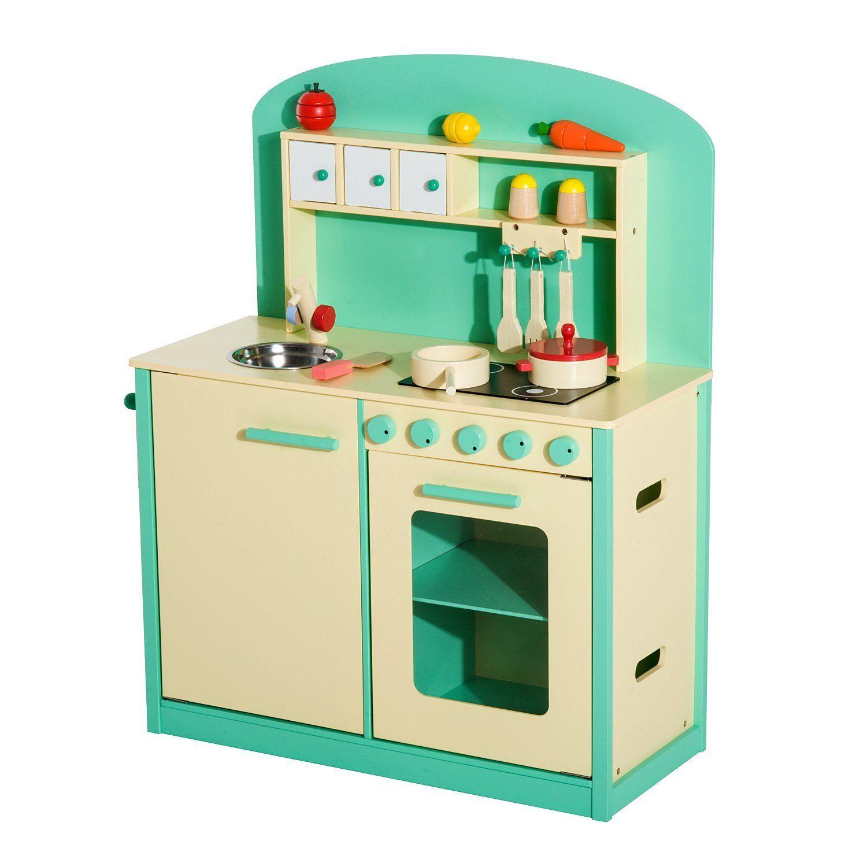Homcom cocinita de juguete de madera con 12 accesorios for Cocina juguete imaginarium
