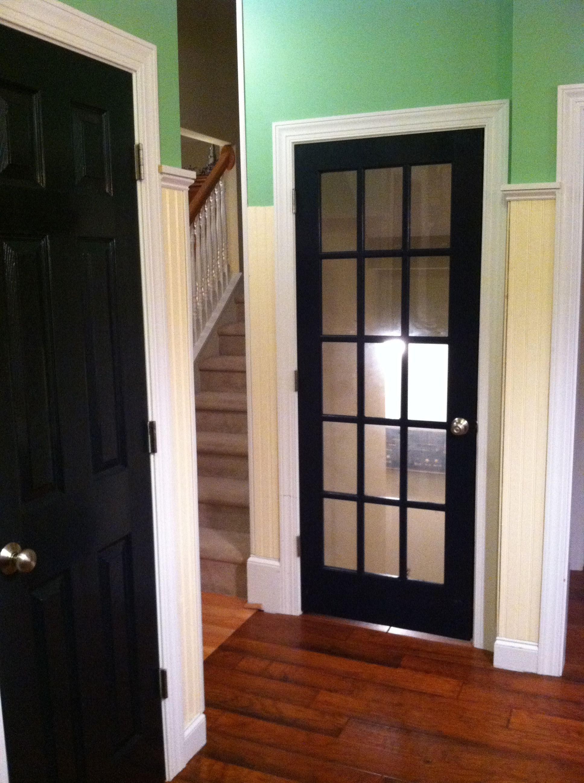 Love Black Interior Doors Adding A French Door To The Basement Really Opens It Up Black Interior Doors Doors Interior French Doors