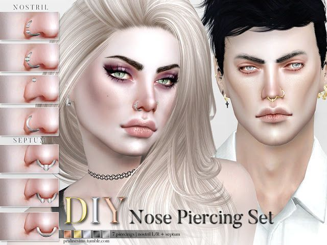 Sims 4 CCs The Best Nose Piercing Set by Pralinesims