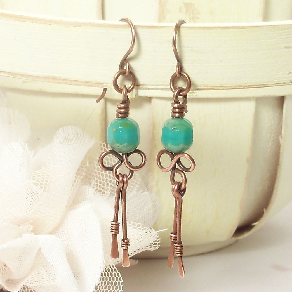 Wire Wrapped Handmade Jewelry Earrings Hammered Copper Dangle ...