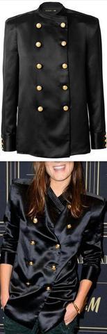 Long Black Satin Double-Breasted Shirt-Jacket