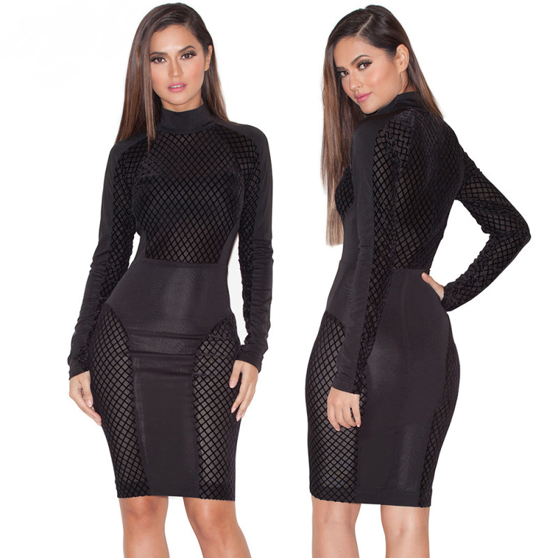 Turtleneck Patchwork Mesh Bodycon Dress