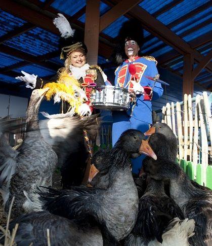 Ganzenparade In fanfare kostuum of in Volendams kostuum. http://www.funenpartymatch.nl/dierendag.php