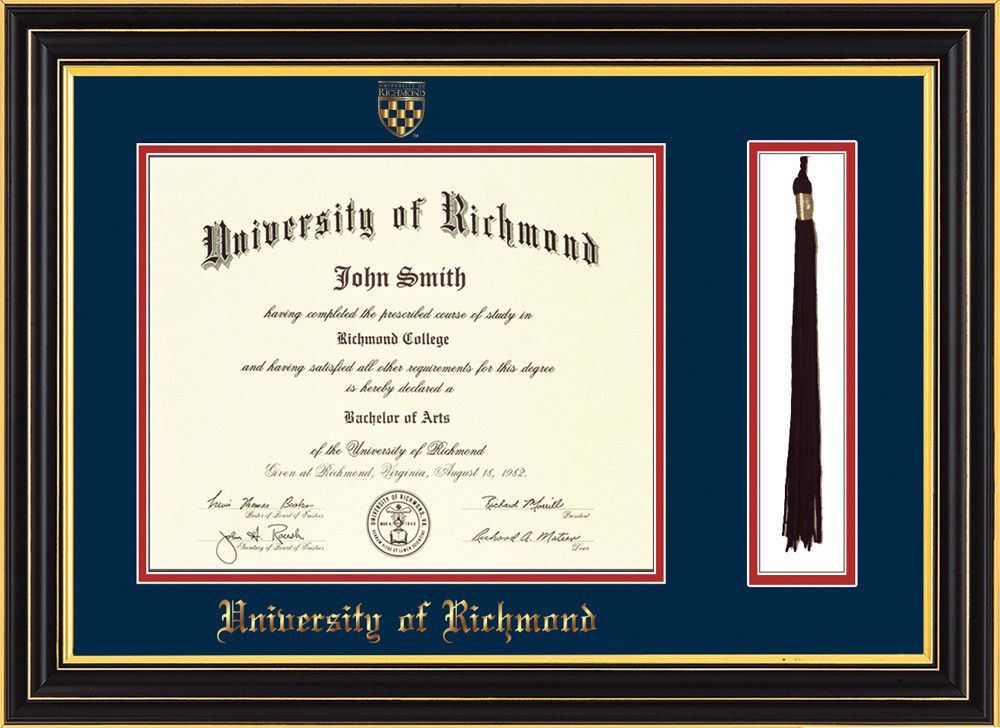 University of Richmond Diploma Frame-Satin Black-Tassel-Navy/Red – Professional Framing Company