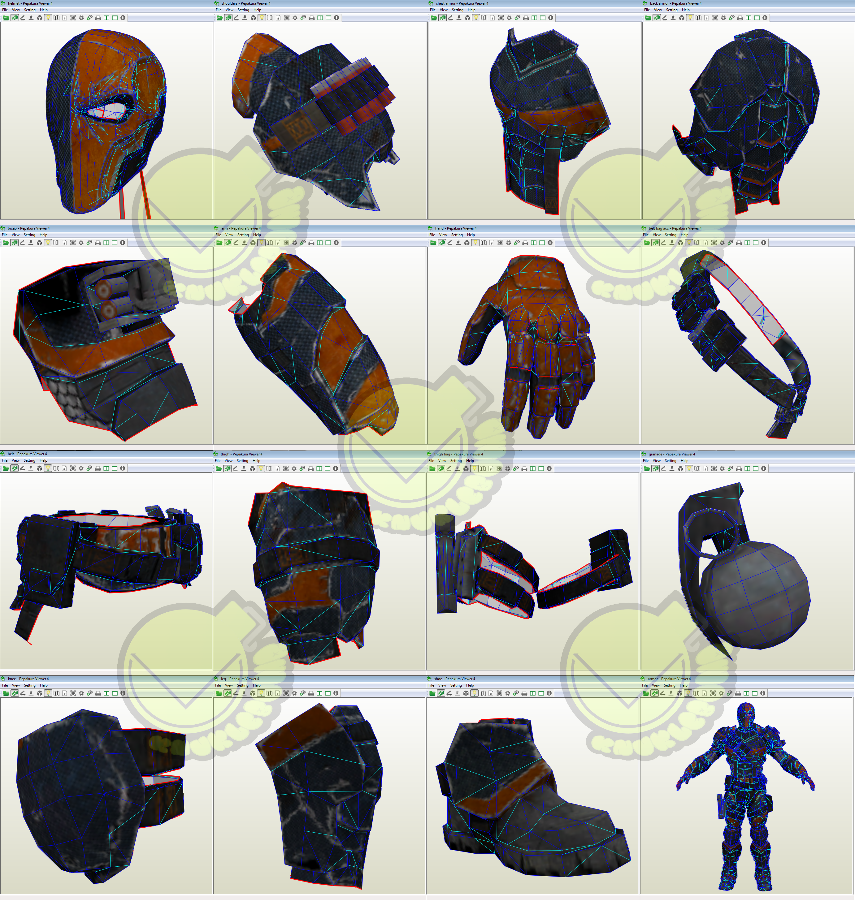Deathstroke costume template pattern pepakura 3d model for Deathstroke armor template