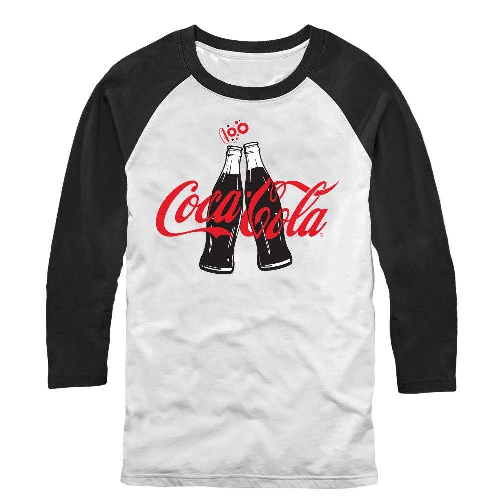 Coca Cola Men's - 100 Years Bottle Clink Baseball Tee #fifthsun #cocacola #coke