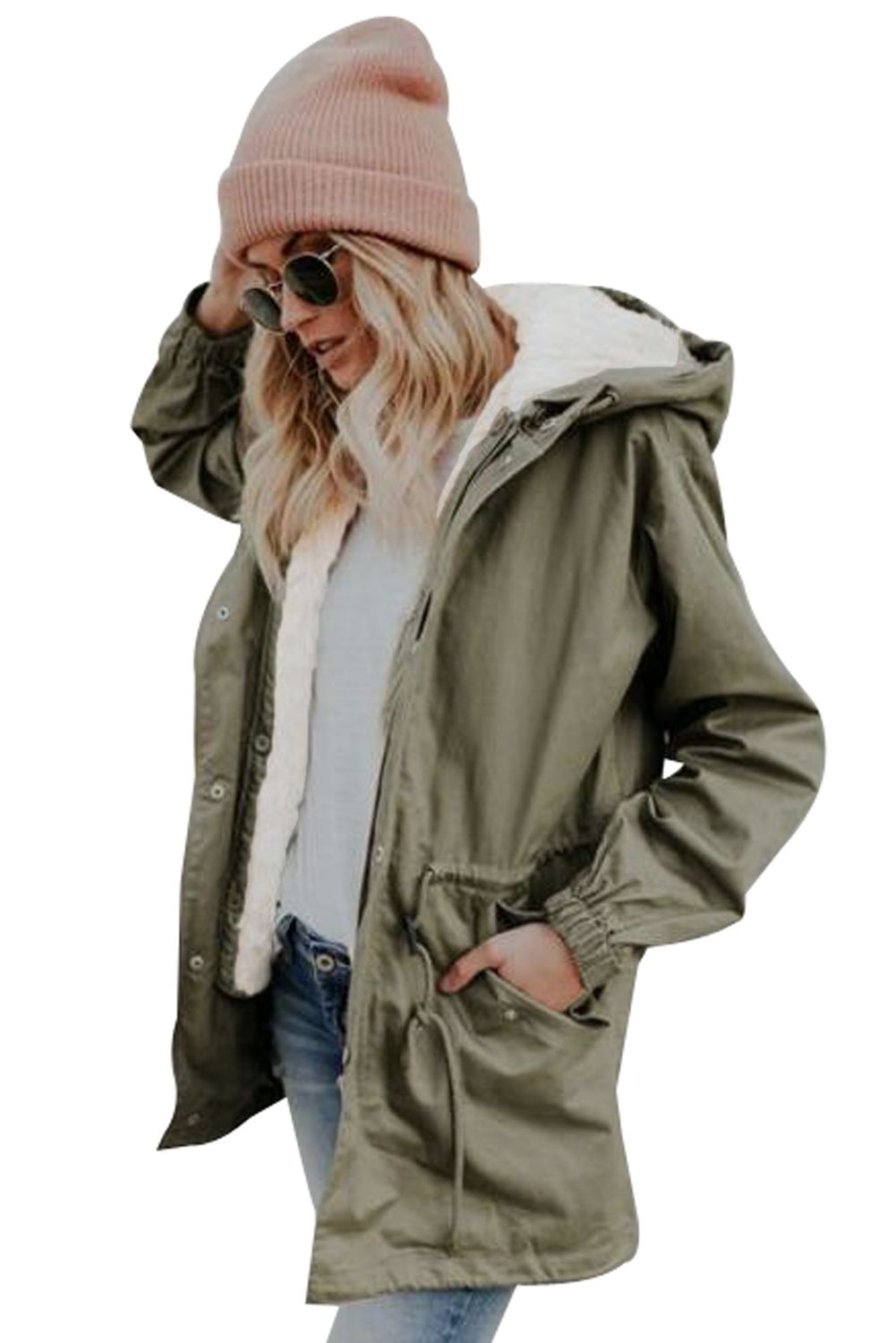 Army Green Front Pockets Zip Jacket With Fall Winter Jacket Jackets Outerwear Fashion [ 1500 x 1001 Pixel ]