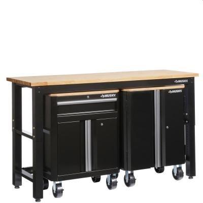 Husky 72 In W X 42 In H X 24 In D Steel Garage Cabinet Set In
