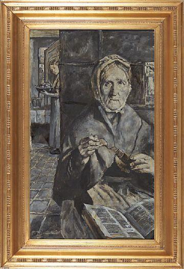 Christian Krogh Vestre Aker 1852 Oslo 1925 Old Wife Oil On Canvas 92x55 Cm Signed Lower Left C Krogh The Design Stems From Christi Maleri Lerret Olje