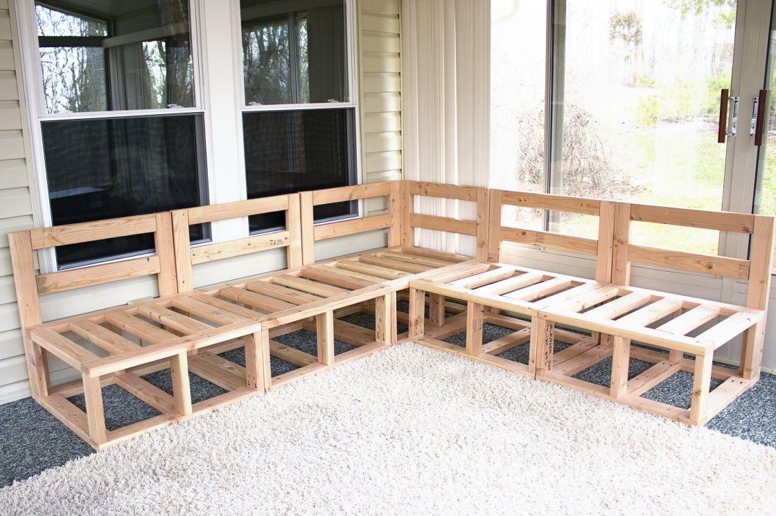 Diy Custom Sectional Corner Sofa Plan Design In Natural Pine Wooden