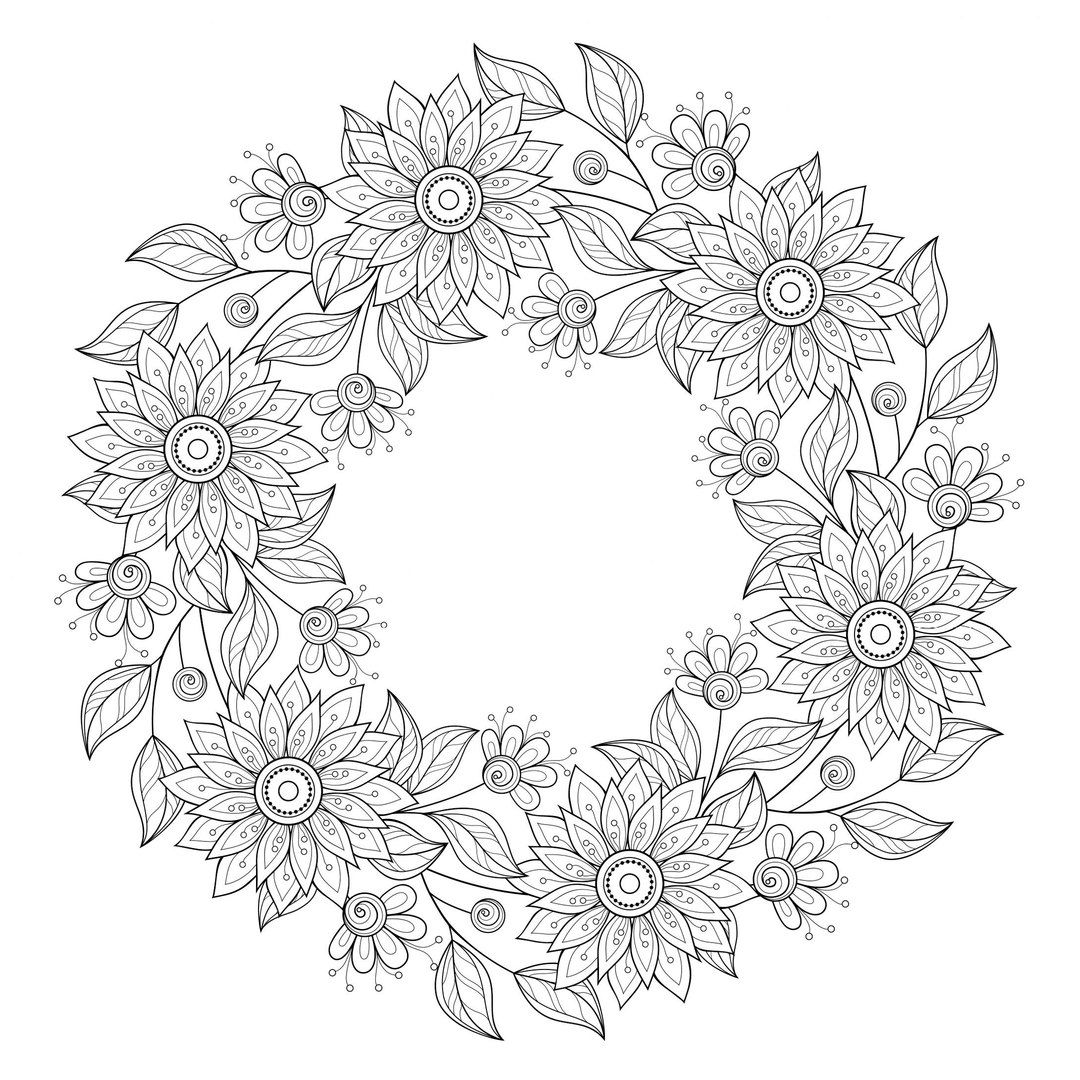 Free Wreath Coloring Pages