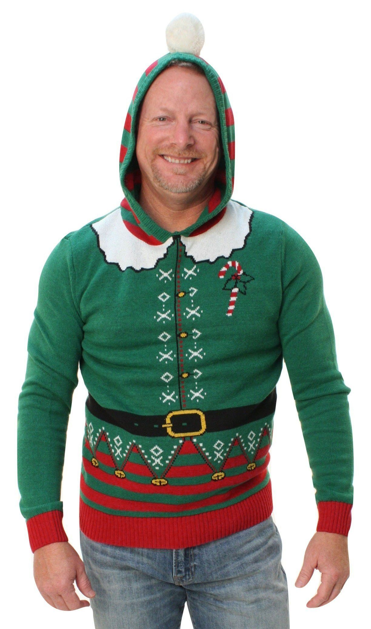 699e30c102bd04 Ugly Christmas Sweater Men's Elf Hooded Pullover Sweatshirt ...