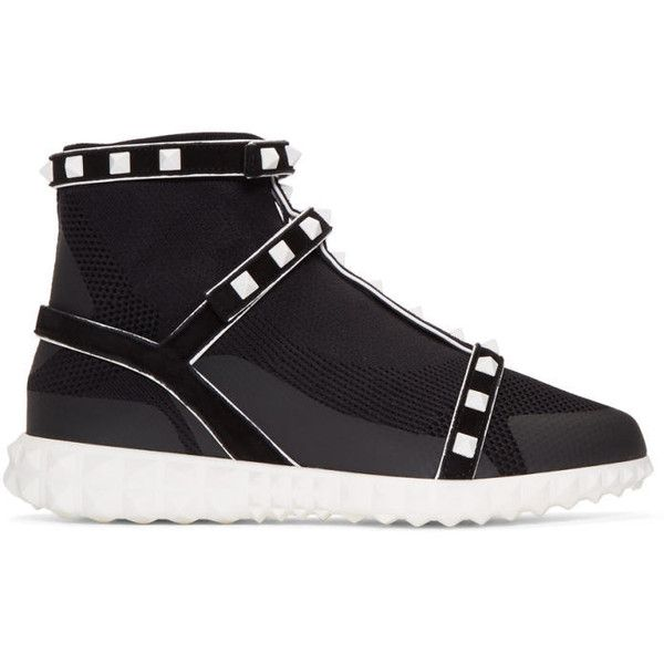 Black Valentino Garavani Studded Knit Sock High-Top Sneakers Valentino FU8aknB7p