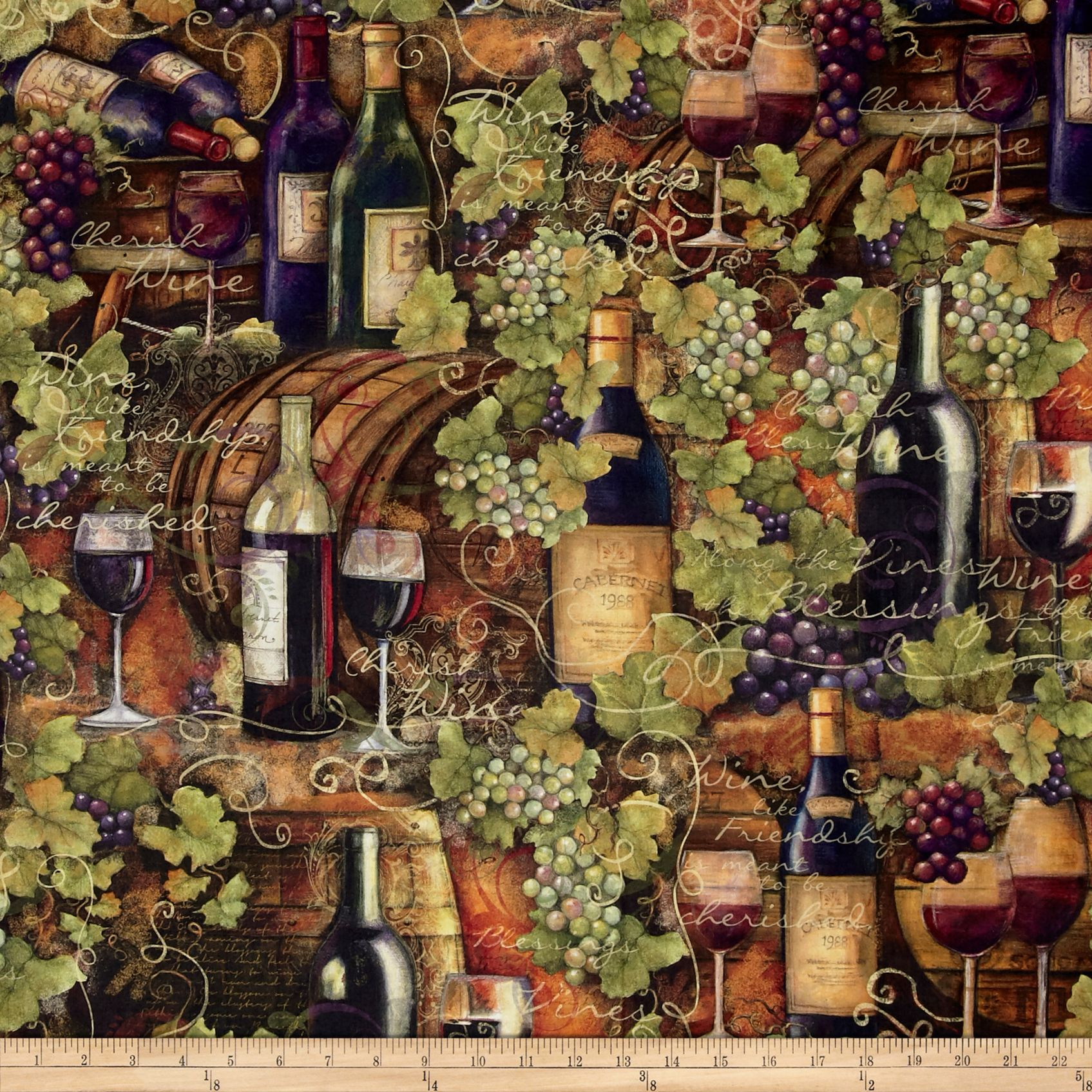 Mia Sonoma County Digital Print Vintage Wine Multi Fabric By The Yard