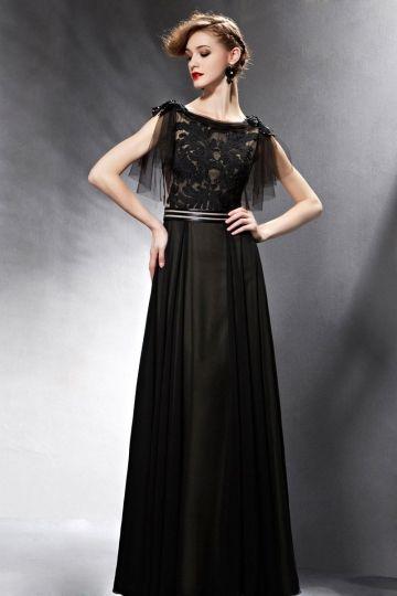 A-Linie Bodenlanges schwarzes Boot-Ausschnitt Abendkleid aus Chiffon ...