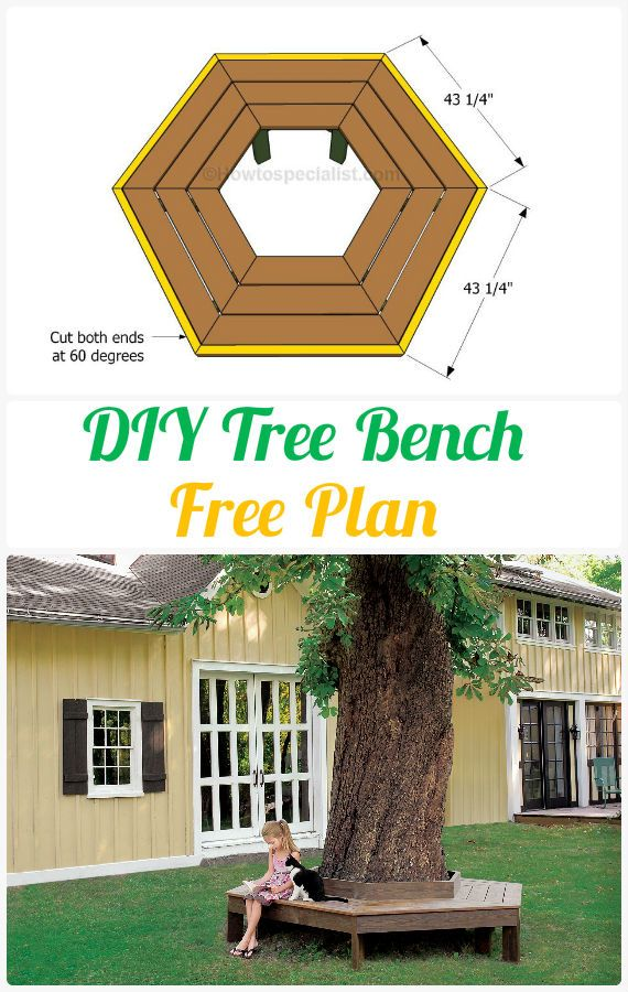 Diy Tree Bench Instructions Free Plan Outdoor Garden Bench Ideas Outdoor Garden Bench Garden Bench Bench Around Trees