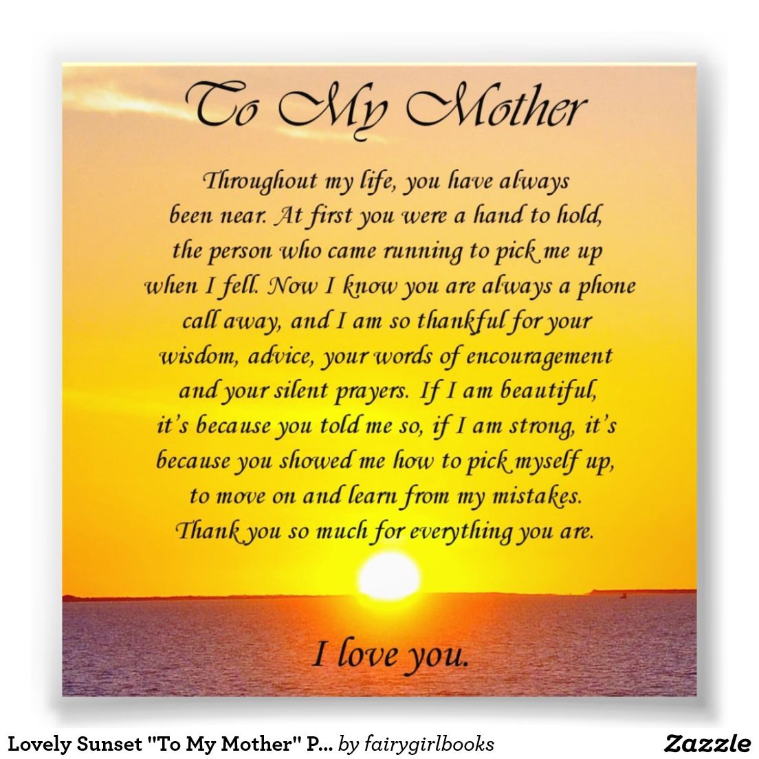 "Quote For My Mom To Thank: Lovely Sunset ""To My Mother"" Photo Verse"