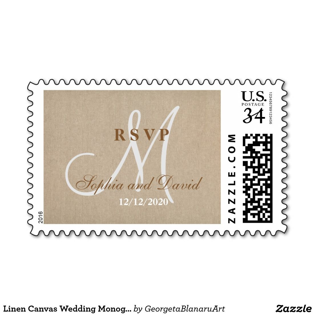 Linen Canvas Wedding Monogram Initial RSVP Postage Stamp   Wedding ...