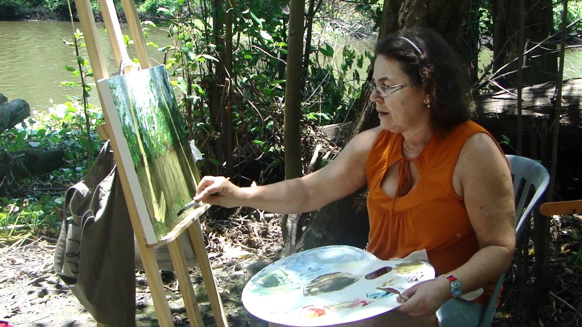 Pintura em tela, aula em campo no Parque do Cocó.