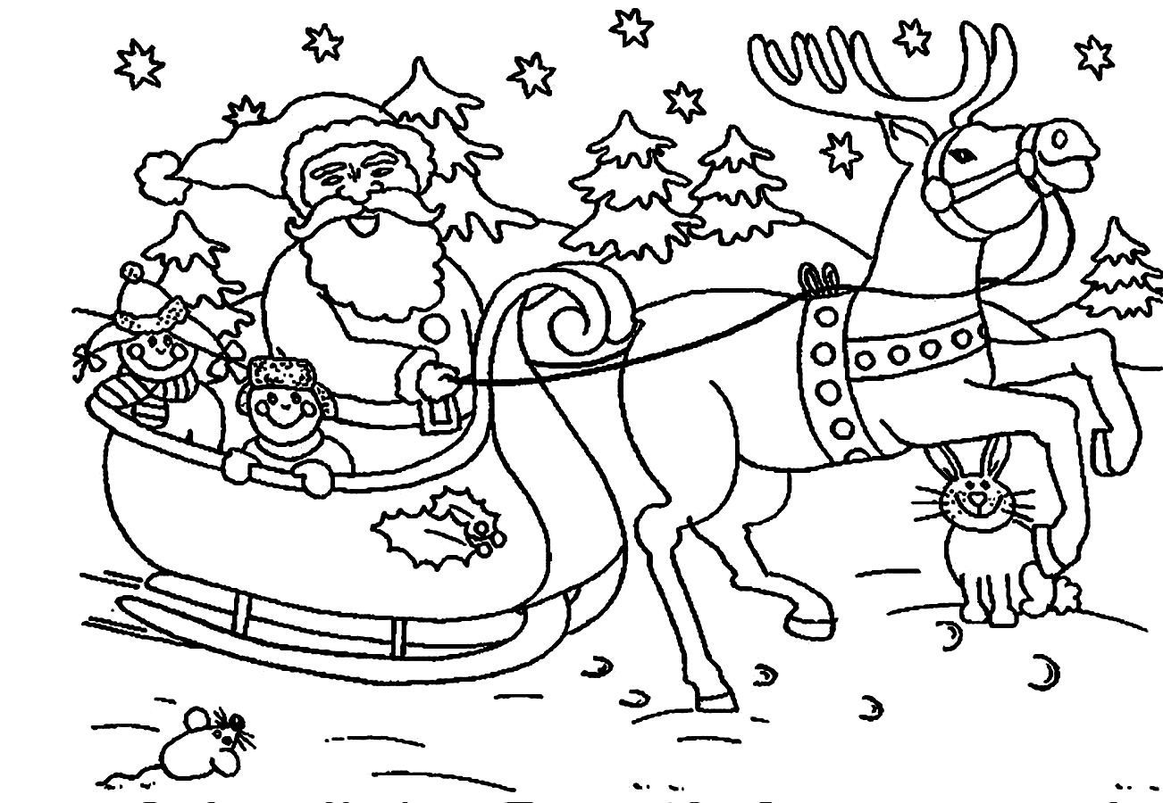 Santa Claus Coloring Pages Christmas Sleigh Reindeer With Images