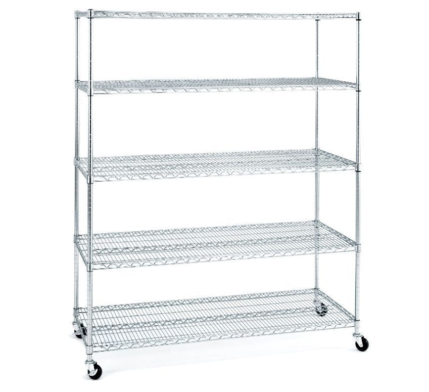 Chrome Shelves With Wheels Stainless Steel Wire Rack Organizer ...
