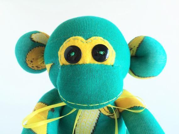 Banana Sock Monkey - Sock Monkey - Plush Banana - Teal Sock Monkey - Yellow Sock Monkey - Green Sock #sockmoneky