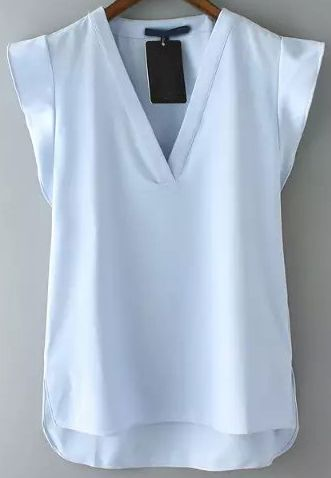 a5e9c457338375 Blue V Neck Short Sleeve Casual Blouse -SheIn(Sheinside) | Wear in ...