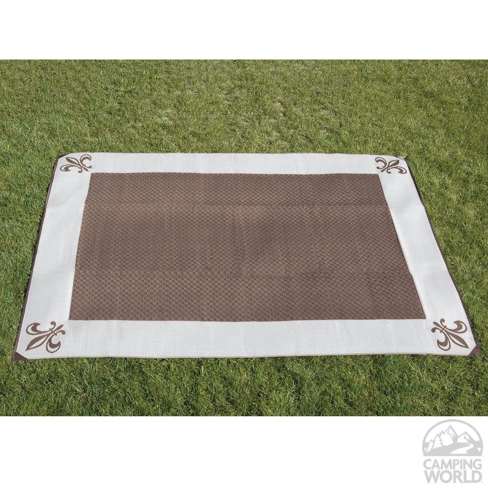 9u0027 X 12u0027 Fleur De Lis Reversible Patio Mat   Brown/Stone