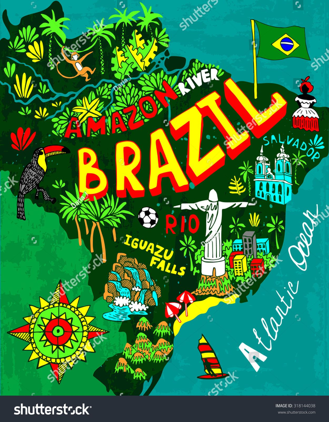 Illustrated map of Brazil | Brasil | Brazil art, Brazil, Brazil country