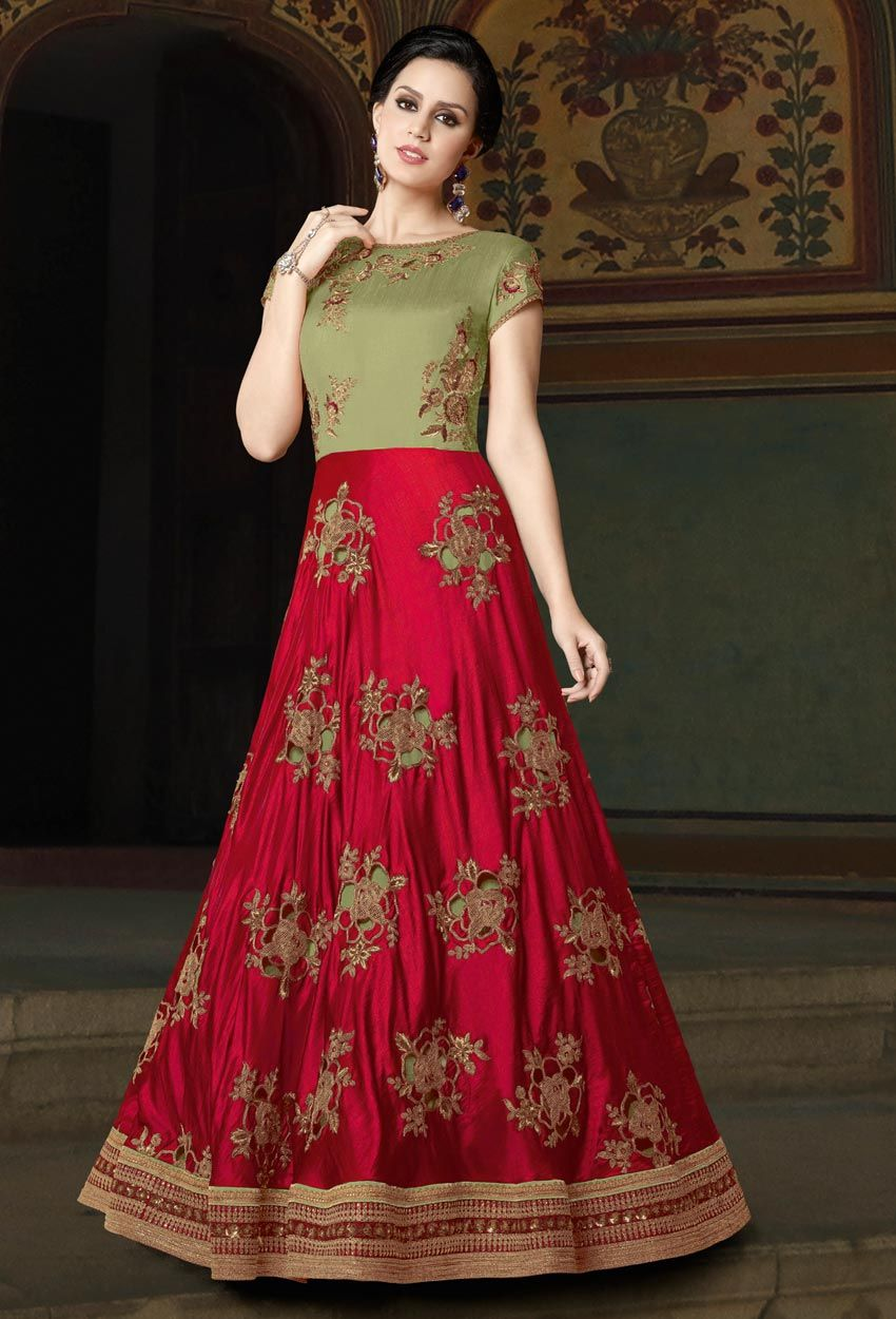 Red Green Art Silk Party Wear Anarkali Suit Anarkalisuit Anarkalisalwarsuit Onlinesalwarsuit Onlinesalwarkam Anarkali Dress Anarkali Suits Dress Collection