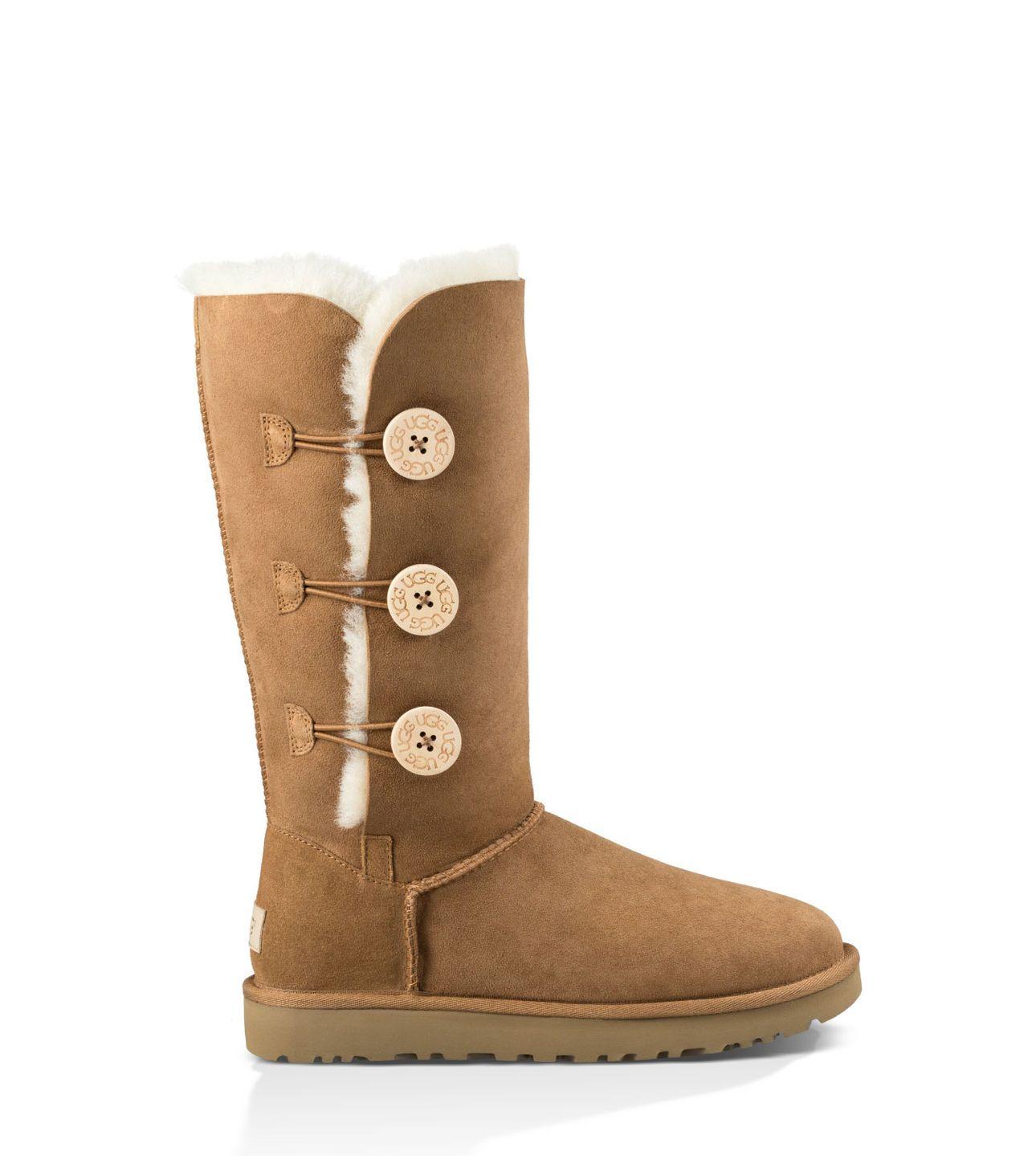 Womens Boots UGG Bailey Button Triplet Sand Sheepskin
