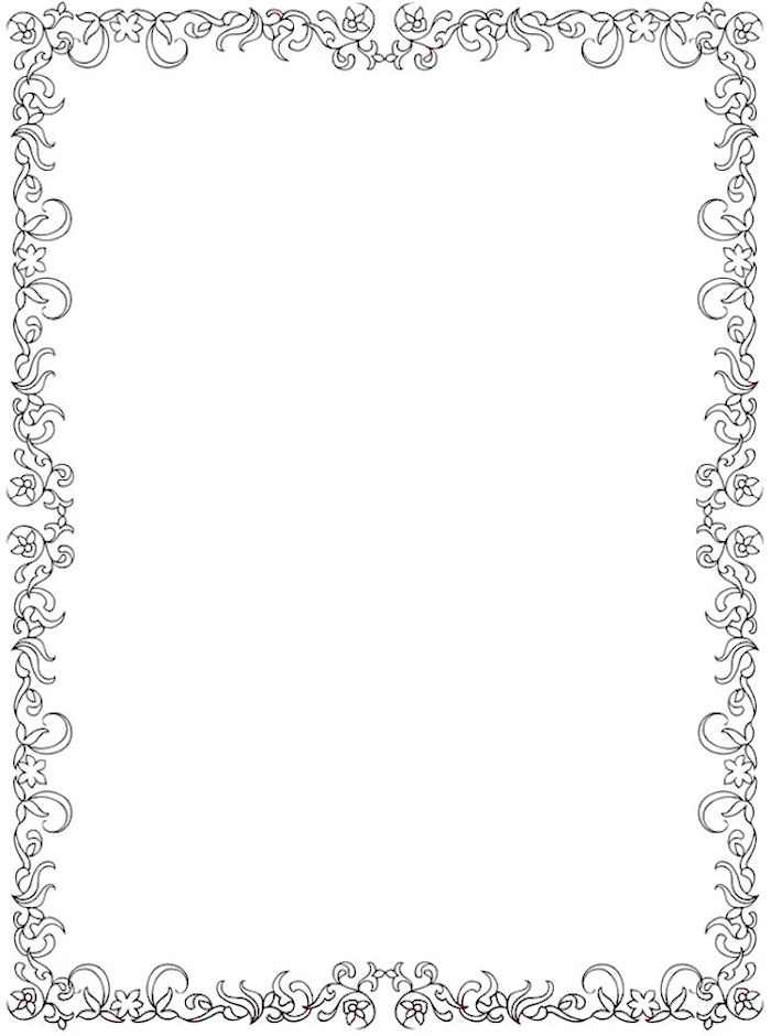 Dover Creative Haven Floral Coloring Page Frame Clip Art Frames Borders Page Borders Page Borders Design