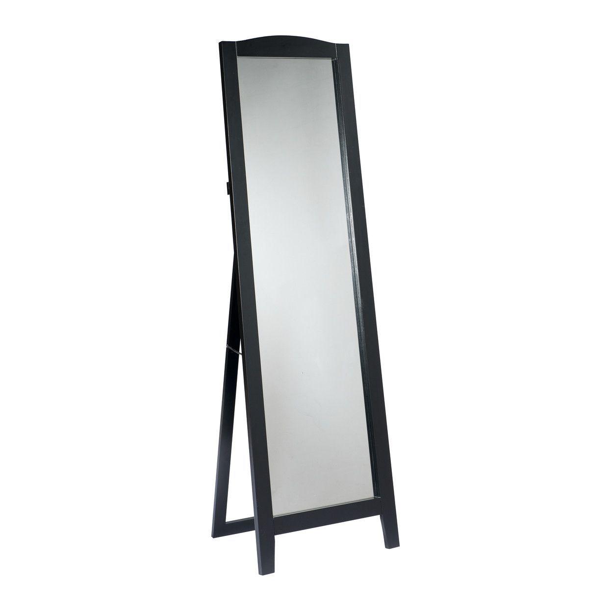 Pilaster Designs - Black Finish Wood Framed Floor Standing Mirror