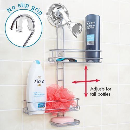 ADJUSTABLE HANGING SHOWER CADDY | Get Organized | Bathroom ...