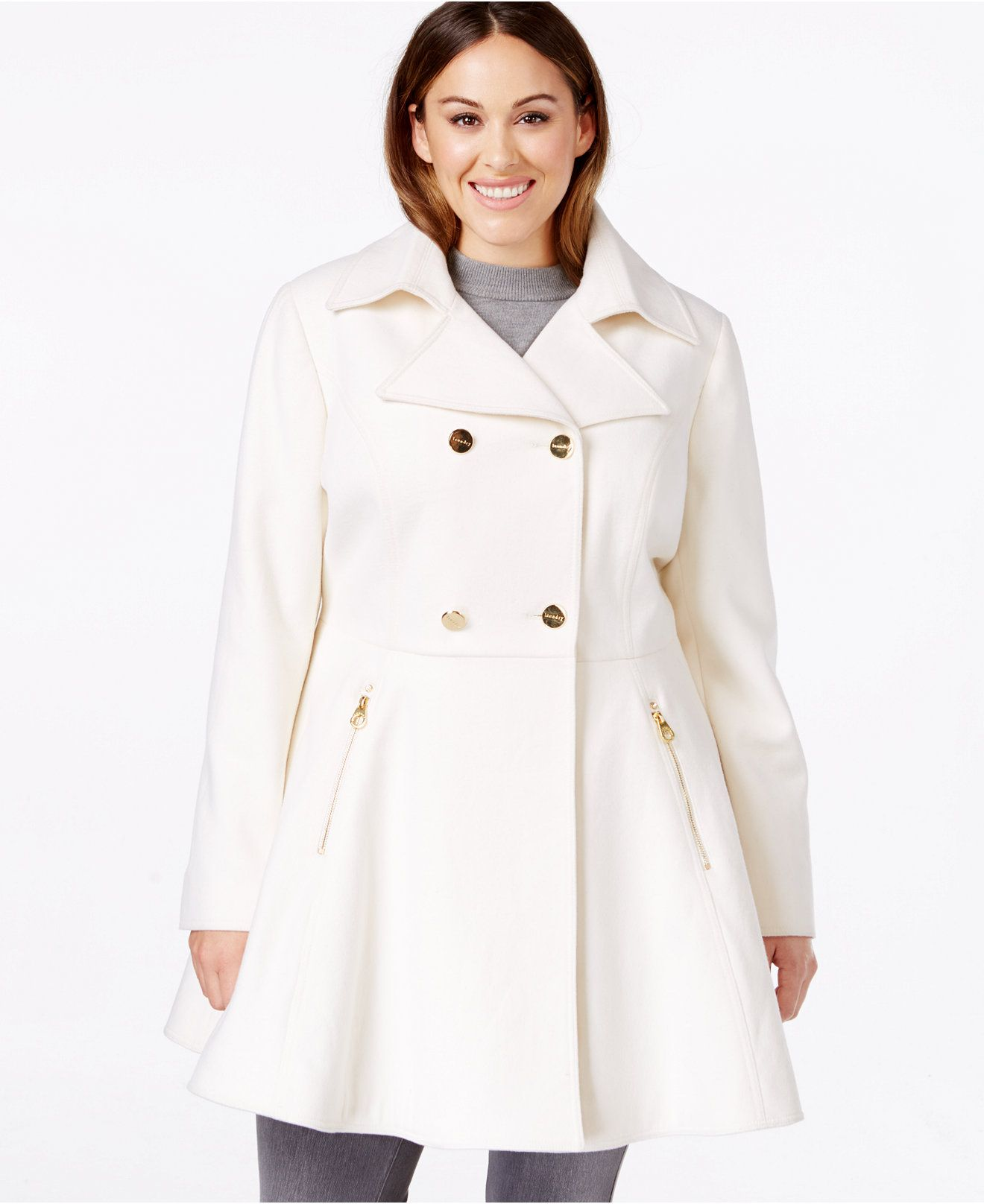 Laundry by Shelli Segal Plus Size Double-Breasted Flared Peacoat ...