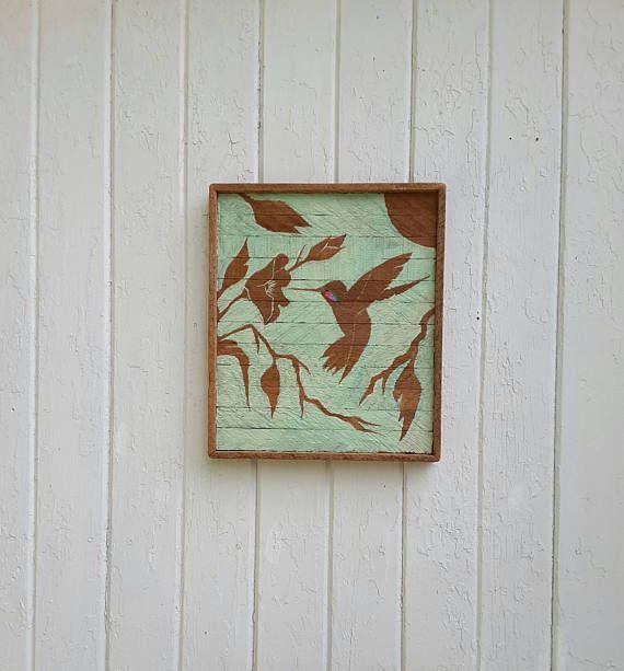 Great Reclaimed Wood Wall Art Hummingbird Silhouette Rustic Decor