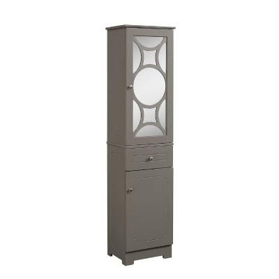 Runfine 15.75 in. W x 11.75 in. D x 63.875 in. H Linen Tower with 1-Mirror Door Top and Wood Door Bottom in Modern Gray-RFBG12302 - The Home Depot