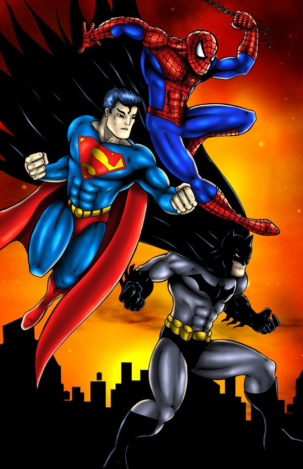 Spiderman Superman Batman By Foongatz On Deviantart Batman Spiderman Batman Pictures Superman And Spiderman